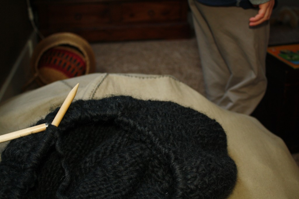 knitting a triangular shawl on a circular needle