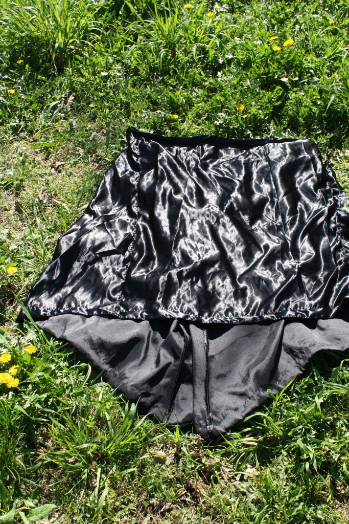 DIY victorian style gored satin skirt