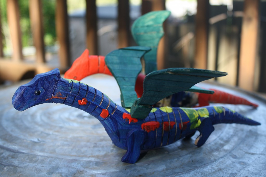 wooden dragon toys painted by my children