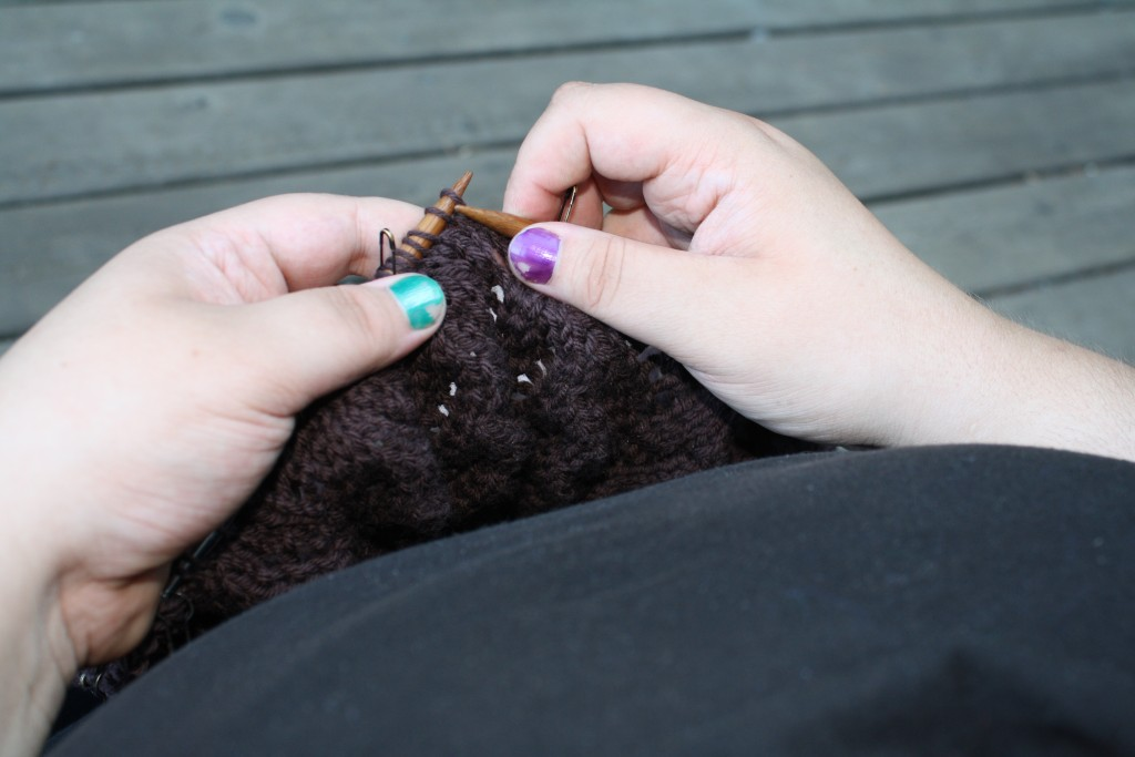 knitting on baby blanket WIP