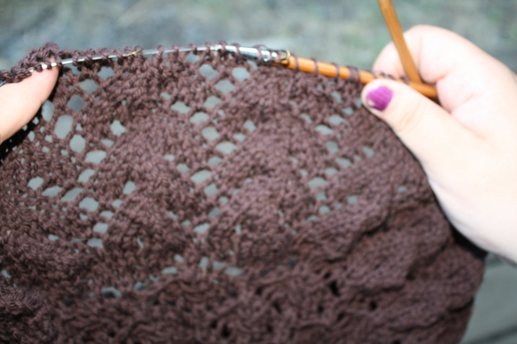 showing the middle chart of the blanket with lacy zigzag or branching pattern