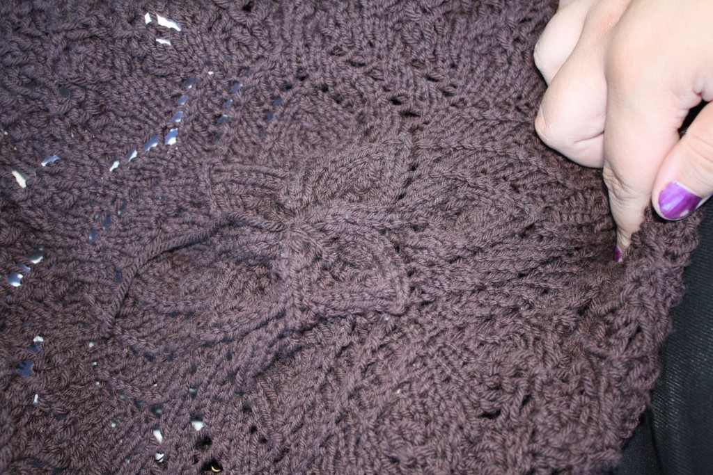 center of blanket I'm knitting showing flowery motif from the first lace chart